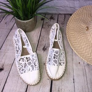 Mossimo White lace summer espadrille shoes